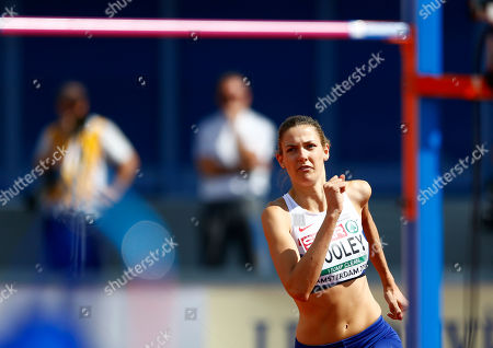 Britain's Isobel Pooley makes an attempt in the women's high jump qualification