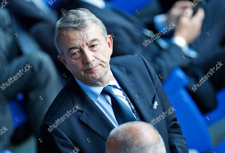 Former president of the German football federation Wolfgang Niersbach, waits for the beginning of the Euro 2016 semifinal.