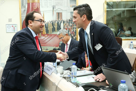 Panama's Foreign Minister Luis Miguel Hincapie and Ahmed Laaouej
