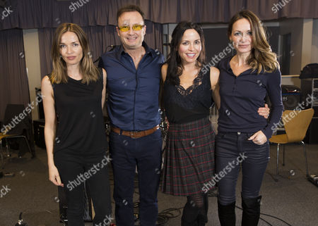 Caroline Corr, Jim Corr, Andrea Corr and Sharon Corr photographed at a recording studio