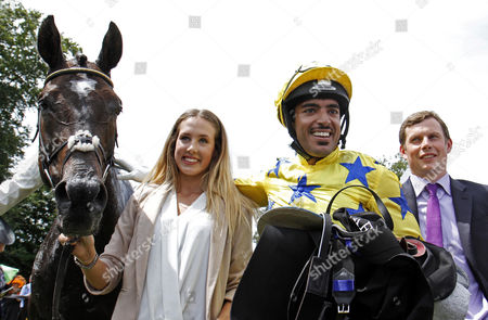 Stock Picture of ALMAGEST (Sheikh Fahad Al Thani) and trainer Robert Stephens after The 347th Running Of The Newmarket Town Plate Newmarket