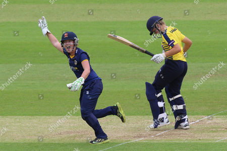 Emily Smith of Essex with an appeal for the wicket of Katie George during Hampshire Women vs Essex Women, NatWest Women's County T20 Cricket at the Ageas Bowl on 8th July 2016