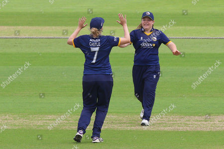 Essex celebrate the wicket of Charlotte Taylor during Hampshire Women vs Essex Women, NatWest Women's County T20 Cricket at the Ageas Bowl on 8th July 2016