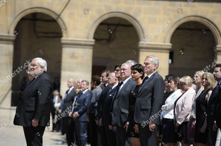 Michel Sapin, Jean-Marc Ayrault and Najat Vallaut-Belkacem during a solemn and national tribute ceremony for Former Prime Minister Michel Rocard at the Hotel des Invalides in Paris, July 7, 2016. //SIPA_SIPA1614032/Credit:BLONDET-POOL/SIPA/1607071637