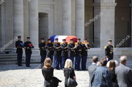 The coffin during a solemn and national tribute ceremony for Former Prime Minister Michel Rocard at the Hotel des Invalides in Paris