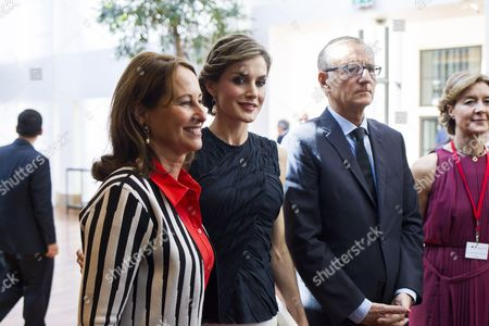 French Environment Minister Segolene Royal, Spain's Queen Letizia and French Junior Minister for Development and Francophonie Andre Vallini
