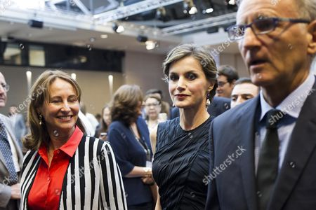 French Environment Minister Segolene Royal, Spain's Queen Letizia and French Junior Minister for Development and Francophonie, Andre Vallini