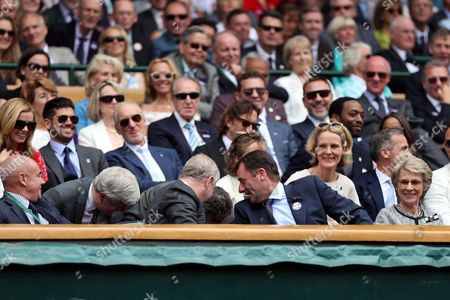 Stock Image of Bjorn Borg, Johan Eliasch, Prince Andrew and Philip Brook look for the ball hit into the Royal Box during day twelve of the 2016 Wimbledon Championships at the All England Lawn Tennis Club, Wimbledon, London on the 8th June 2016