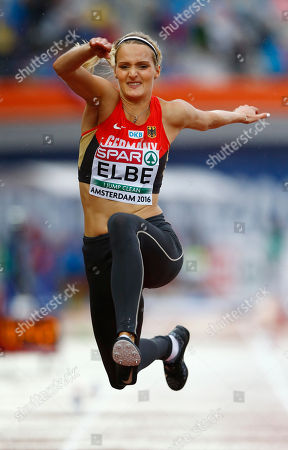 Stock Photo of Germany's Jenny Elbe makes an attempt in the women's triple jump qualification