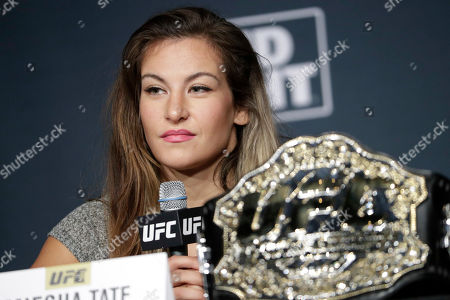 Miesha Tate speaks during a UFC 200 mixed martial arts news conference