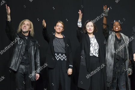 Jonjo O'Neill (Ivan), Genevieve Barr (Eva), Amanda Drew (Anastasia) and Tamara Lawrance (Natasha) during the curtain call