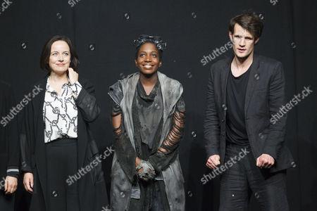 Amanda Drew (Anastasia), Tamara Lawrance (Natasha) and Matt Smith (Maxim) during the curtain call