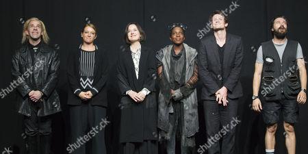 Jonjo O'Neill (Ivan), Genevieve Barr (Eva), Amanda Drew (Anastasia), Tamara Lawrance (Natasha), Matt Smith (Maxim) and Richard Pyros (Carl) during the curtain call
