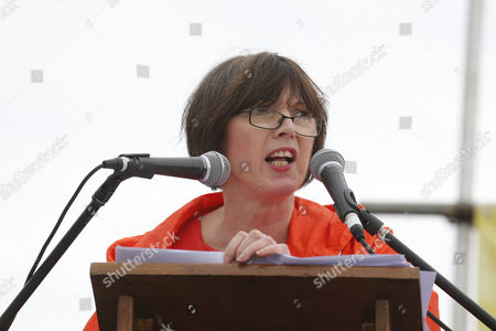 Frances O' Grady, of the TUC, speaking at the Durham Miners' Gala