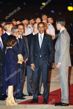 Stock Photo of King Felipe VI of Spain, President Barack Obama, Soraya Saenz de Santa Maria