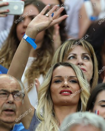 Ludivine Payet the wife of Dimitri Payet of France during the UEFA Euro 2016 Final match between Portugal and France played at the Stade de France, Paris, France on July 10th 2016