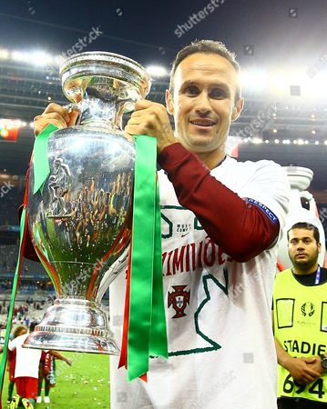 Ricardo Carvalho of Portugal celebrates with the trophy during the UEFA Euro 2016 Final match between Portugal and France played at the Stade de France, Paris, France on July 10th 2016