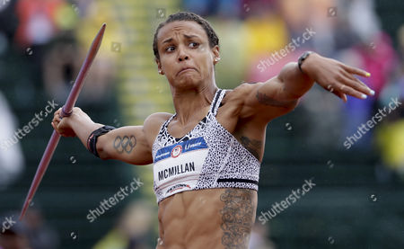 Chantae McMillan competes during the women's heptathlon javelin throw