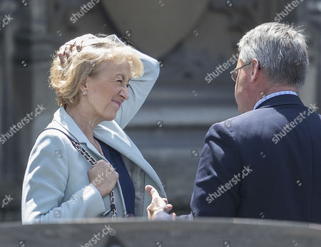 Conservative party leadership candidate Andrea Leadsom talks to Tim Loughton MP at Parliament