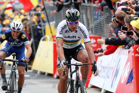 World Champion Peter Sagan (Slovakia) wins stage 2 from Julian ALAPHILIPPE (Fra) angry and exhausted in 2nd - imitates Norman Wisdom