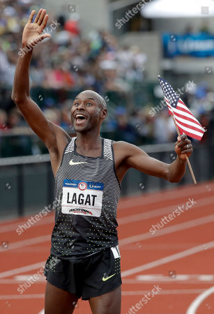 Bernard Lagat celebrates his win in the finals of the men's 5000-meter run at the U.S. Olympic Track and Field Trials
