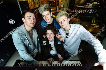 "American boy band ""The Tide"". Drew Dirksen, Levi Jones, Nate Parker, Austin Corini,"