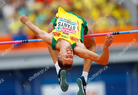 Stock Photo of Lithuania's Raivydas Stanys makes an attempt in the men's high jump qualification during the European Athletics Championships in Amsterdam, the Netherlands