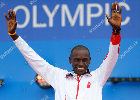 Stock Photo of Turkey's gold medal winner Polat Kemboi Arikan waves during the ceremony for the men's 10,000m at the European Athletics Championships in Amsterdam, the Netherlands