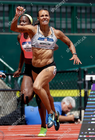 Stock Image of Chantae McMillan wins her heat during the heptathlon 100-meter hurdles at the U.S. Olympic Track and Field Trials