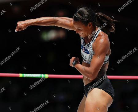 Stock Picture of Chantae McMillan celebrates during the heptathlon high jump at the U.S. Olympic Track and Field Trials