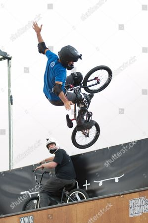 Stock Picture of Mat Hoffman, world record holder, former X-Games Champion and owner of Hoffman bikes put on a display with his friends