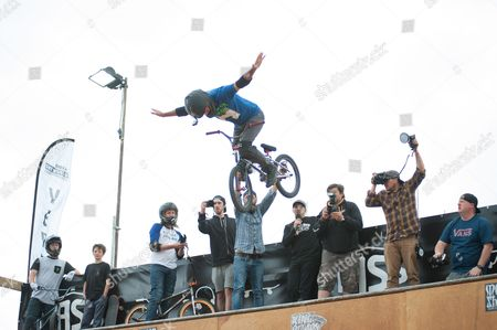 Stock Photo of Mat Hoffman, world record holder, former X-Games Champion and owner of Hoffman bikes put on a display with his friends