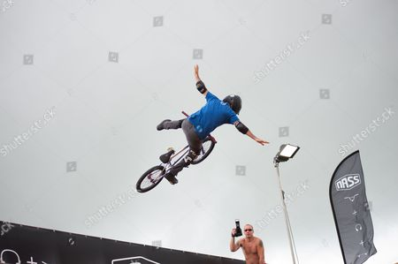 Mat Hoffman, world record holder, former X-Games Champion and owner of Hoffman bikes put on a display with his friends