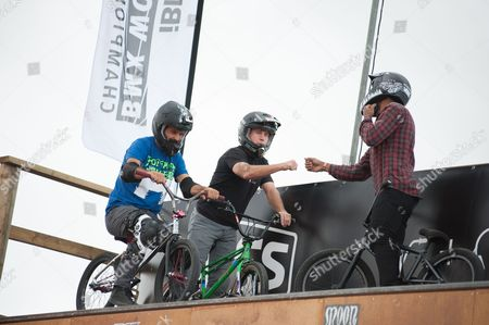 Stock Image of Mat Hoffman, world record holder, former X-Games Champion and owner of Hoffman bikes put on a display with his friends