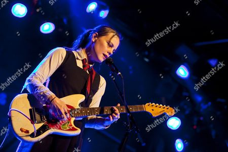 Stock Photo of British singer and musician Emma Louise Niblett, known as Scout Niblett, performing live in the Schueuer concert hall, Lucerne, Switzerland