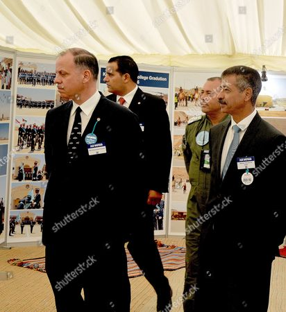 Stock Image of Prince Faisal bin Al Hussein of Jordan (L)v isiting the Jordanian village at the Royal International Air Tattoo