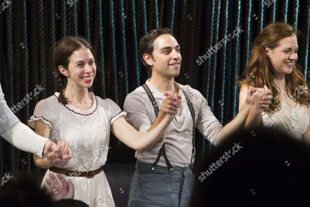 Liz Hayes (Jack's Mother/Stepmother), Ben Steinfeld (Director/Baker) and Claire Karpen (Cinderella/Granny) during the curtain call