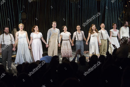 Stock Photo of Paul L Coffey (Mysterious Man), Vanessa Reseland (Witch), Jessie Austrian (Baker's Wife), Patrick Mulryan (Jack/Steward), Emily Young (Little Red/Rapunzel), Ben Steinfeld (Director/Baker), Claire Karpen (Cinderella/Granny), Noah Brody (Director/Wolf/Cinderella's Prince), Liz Hayes (Jack's Mother/Stepmother) and Andy Grotelueschen (Milky White/Rapunzel's Prince) during the curtain call