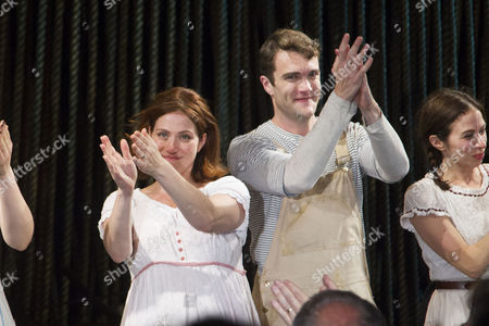 Jessie Austrian (Baker's Wife) and Patrick Mulryan (Jack/Steward) during the curtain call