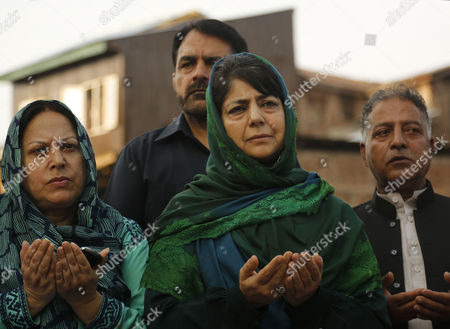 Jammu and Kashmir state Chief Minister Mehbooba Mufti at the Martyr's Graveyard in Srinagar, Indian controlled Kashmir