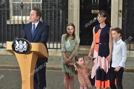 Prime Minister David Cameron, Samantha Cameron, Arthur Elwen Cameron, Florence Rose Endellion Cameron, Nancy Gwen Cameron