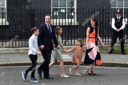 Stock Picture of Prime Minister David Cameron, Samantha Cameron, Arthur Elwen Cameron, Florence Rose Endellion Cameron, Nancy Gwen Cameron