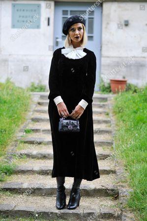Zara Alexandrova after Ulyana Sergeenko Haute Couture SS17 FW16, Galerie de la Mineralogie, Paris, 2016.