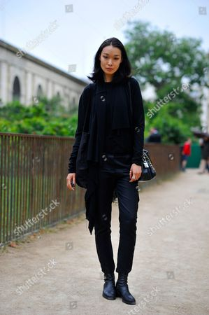 Stock Picture of Model Bibi Sharipova  after Ulyana Sergeenko Haute Couture on Rue Buffon Paris  SS17 FW16,