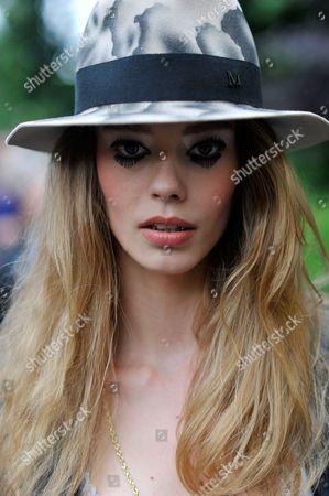 Model Ondria Hardin after Chanel Paris Haute Couture, Grand Palais, Fashion Week July, FW16 .