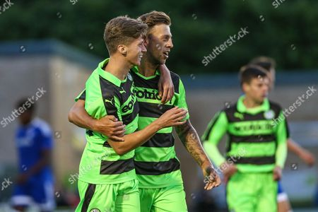 4954f2e804cadb Forest Green Rovers Olly Mehew celebrates his goal with Forest Green Rovers  Ben Jefford during the