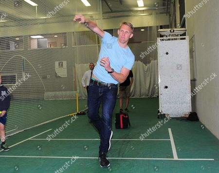 Lewis Moody bowls in his visit to Millichamp and Hall.