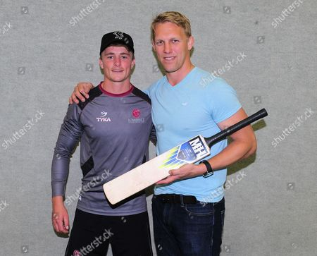 Lewis Moody poses with Tom Abell of Somerset.