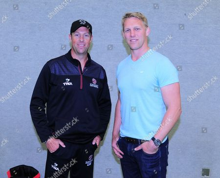 Lewis Moody poses with Marcus Trescothick of Somerset.