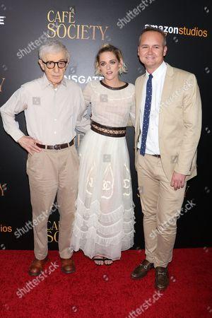 Woody Allen (Director), Kristen Stewart and Roy Price (Head of Amazon Studios)